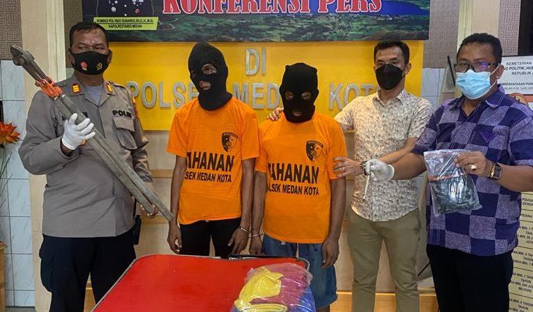 Unit Reskrim Polsek Medan Kota Ringkus Dua Pelaku Pembobol Toko