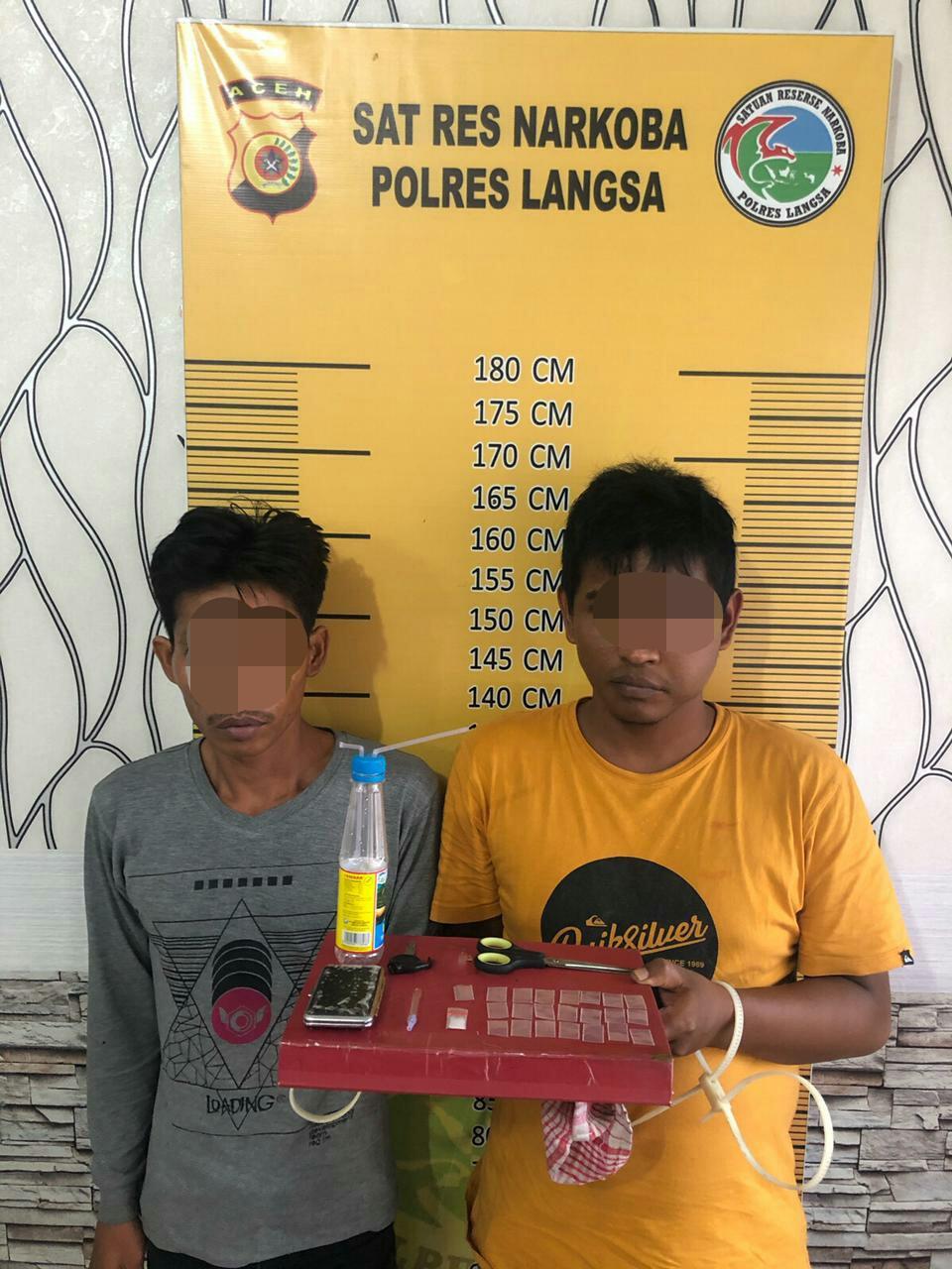 Anggota Unit Opsnal Sat Resnarkoba Polres Langsa Amankan Dua Tersangka Penyalahgunaan Narkotika Jenis Sabu
