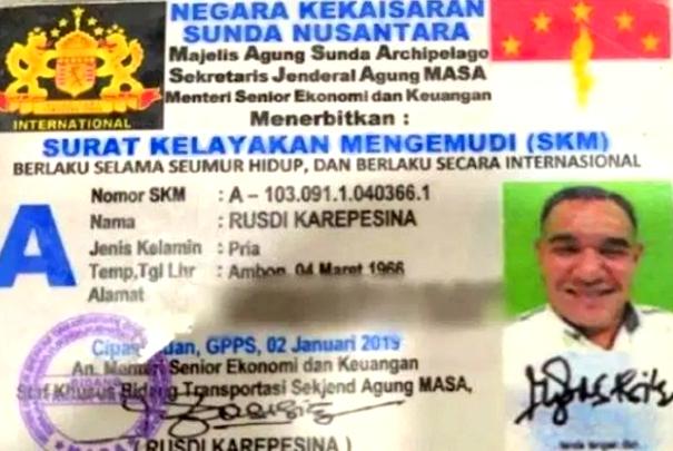 Heboh!! Kekaisaran Sunda Nusantara kali ini menerbitkan SIM dan STNK ilegal setelah ditilang Polisi